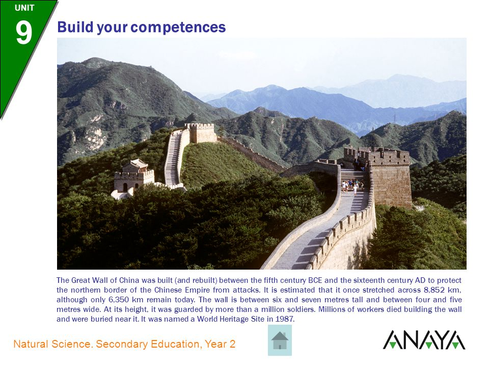 UNIT 9 Natural Science. Secondary Education, Year 2 Build your competences The statue of Christ the Redeemer is in Rio de Janeiro, Brazil, and stands