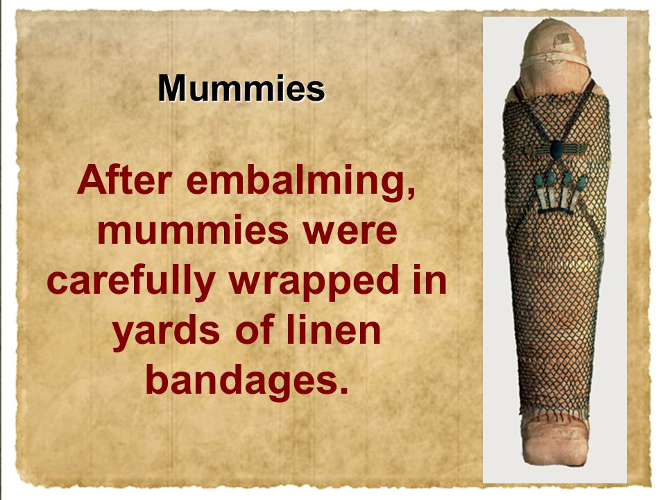 After embalming, mummies were carefully wrapped in yards of linen bandages. Mummies