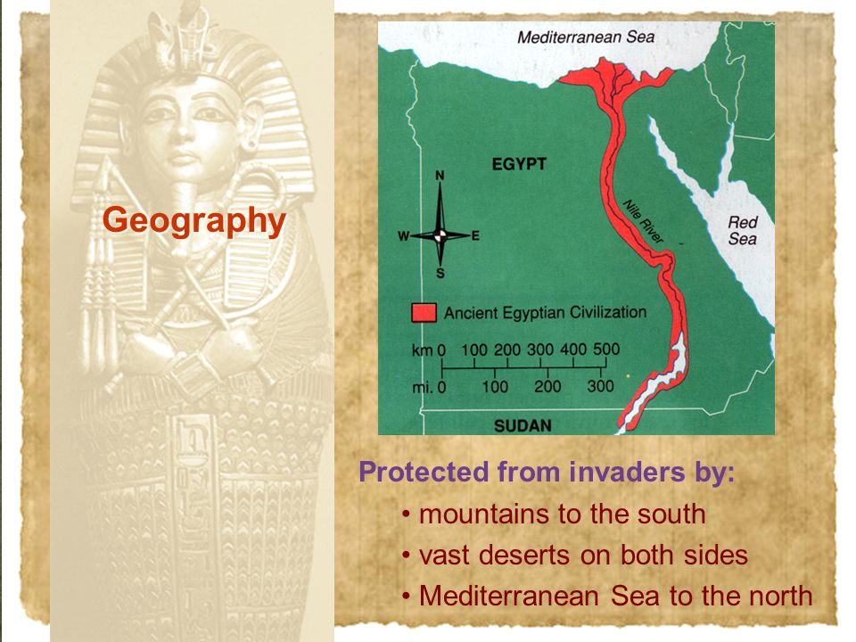 Protected from invaders by: mountains to the south vast deserts on both sides Mediterranean Sea to the north Geography