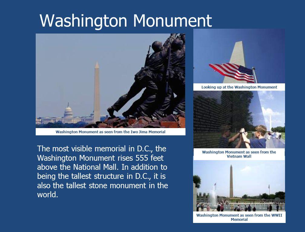 Washington Monument Washington Monument as seen from the Iwo Jima Memorial Washington Monument as seen from the WWII Memorial Washington Monument as s