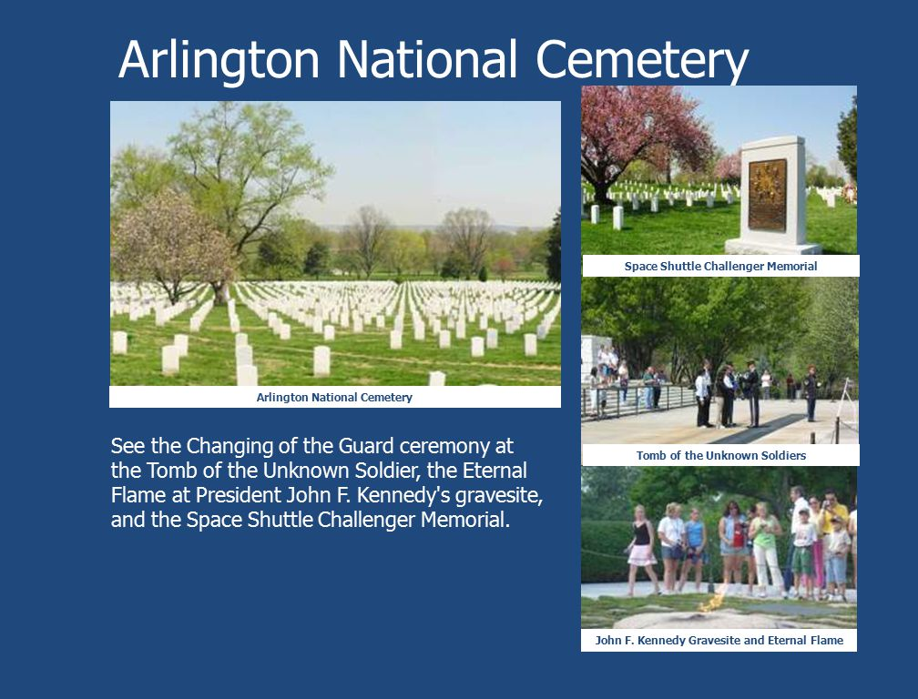 Arlington National Cemetery Space Shuttle Challenger Memorial Tomb of the Unknown Soldiers John F. Kennedy Gravesite and Eternal Flame See the Changin