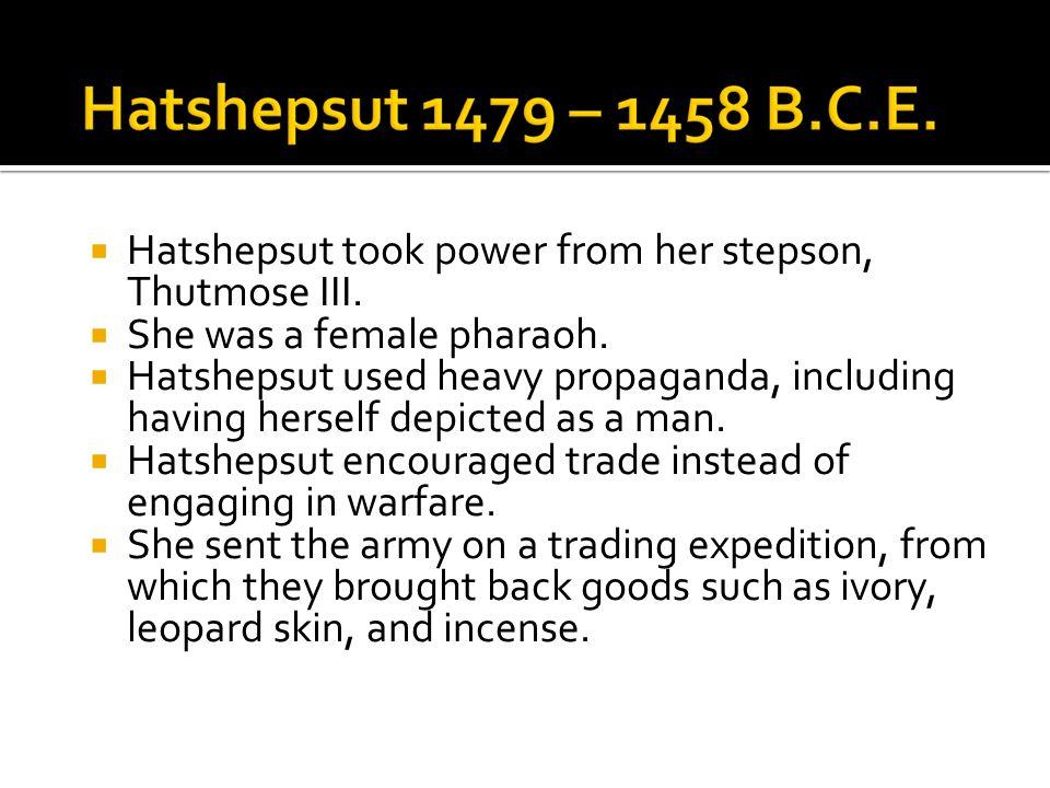  Hatshepsut took power from her stepson, Thutmose III.  She was a female pharaoh.  Hatshepsut used heavy propaganda, including having herself depic