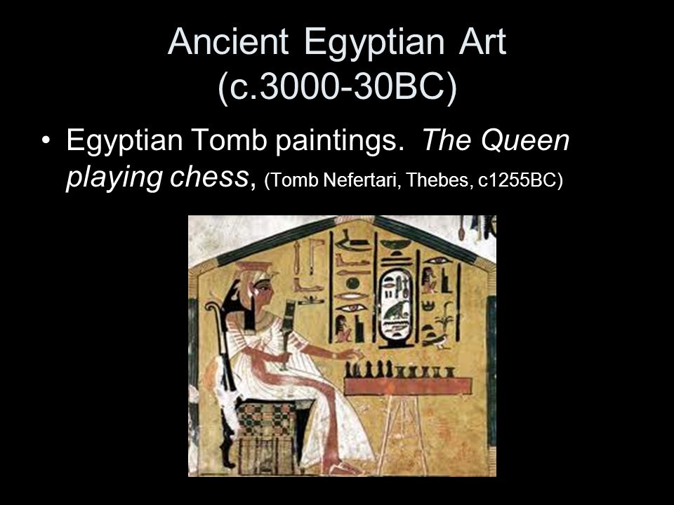 Ancient Egyptian Art (c.3000-30BC) Egyptian Tomb paintings. The Queen playing chess, (Tomb Nefertari, Thebes, c1255BC)