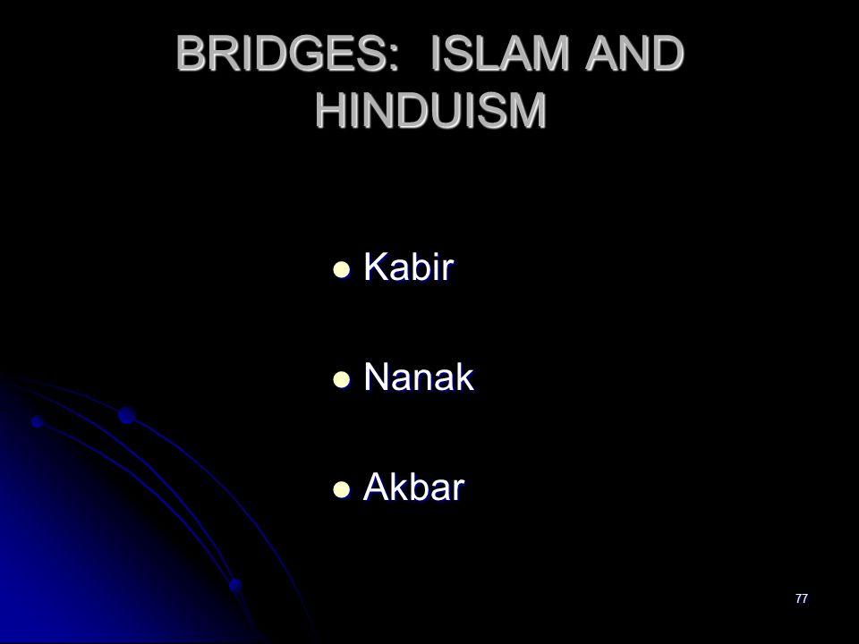 77 BRIDGES: ISLAM AND HINDUISM Kabir Kabir Nanak Nanak Akbar Akbar