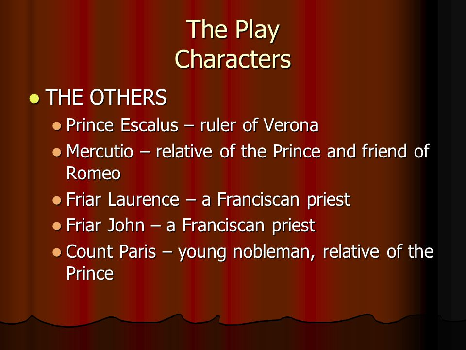 The Play Characters THE OTHERS THE OTHERS Prince Escalus – ruler of Verona Prince Escalus – ruler of Verona Mercutio – relative of the Prince and friend of Romeo Mercutio – relative of the Prince and friend of Romeo Friar Laurence – a Franciscan priest Friar Laurence – a Franciscan priest Friar John – a Franciscan priest Friar John – a Franciscan priest Count Paris – young nobleman, relative of the Prince Count Paris – young nobleman, relative of the Prince