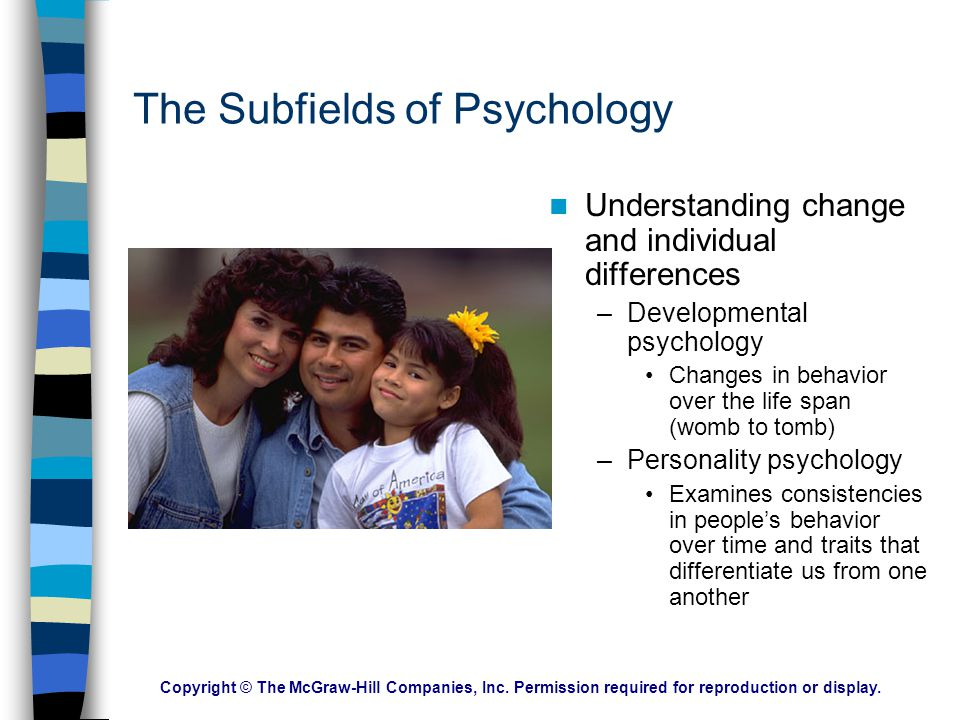 Copyright © The McGraw-Hill Companies, Inc. Permission required for reproduction or display. The Subfields of Psychology: Psychology's Family Tree Bio