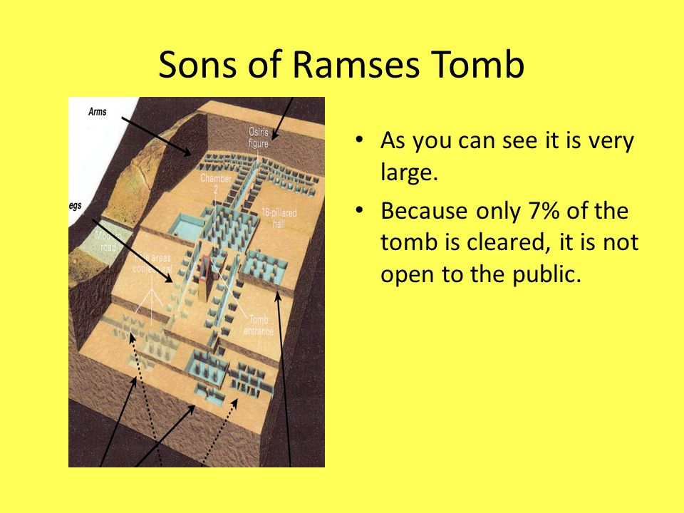Sons of Ramses Tomb As you can see it is very large. Because only 7% of the tomb is cleared, it is not open to the public.