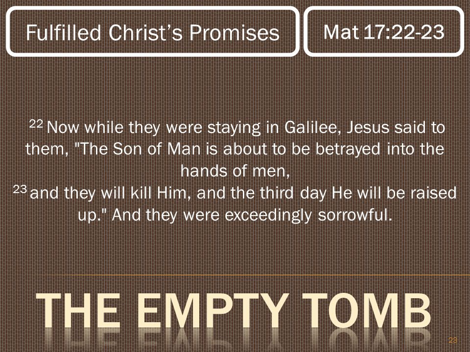 23 22 Now while they were staying in Galilee, Jesus said to them, The Son of Man is about to be betrayed into the hands of men, 23 and they will kill Him, and the third day He will be raised up. And they were exceedingly sorrowful.