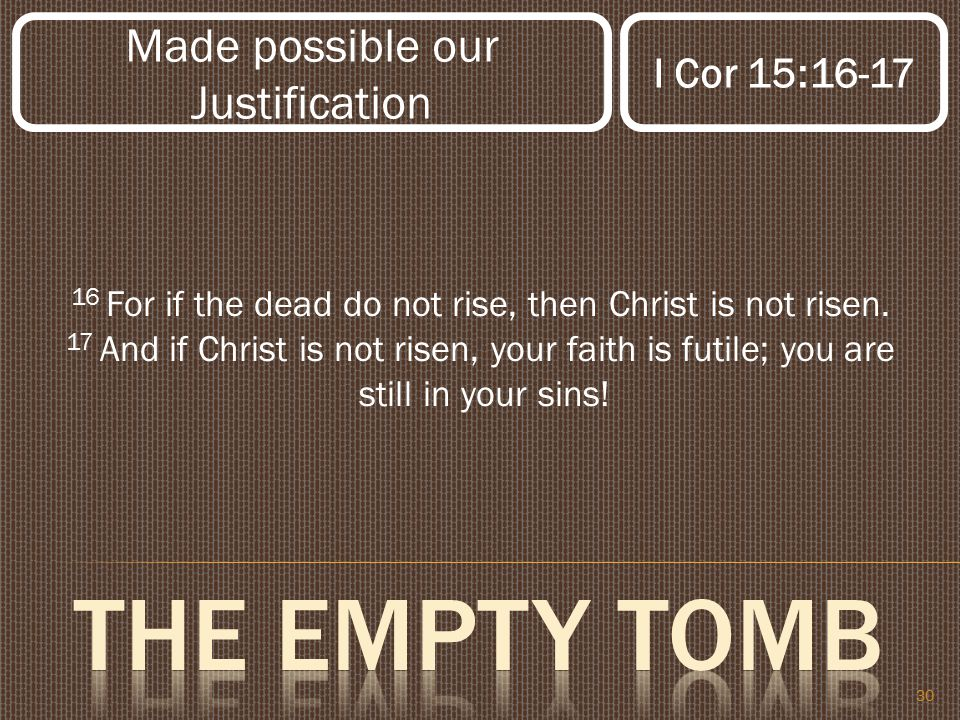 30 16 For if the dead do not rise, then Christ is not risen.
