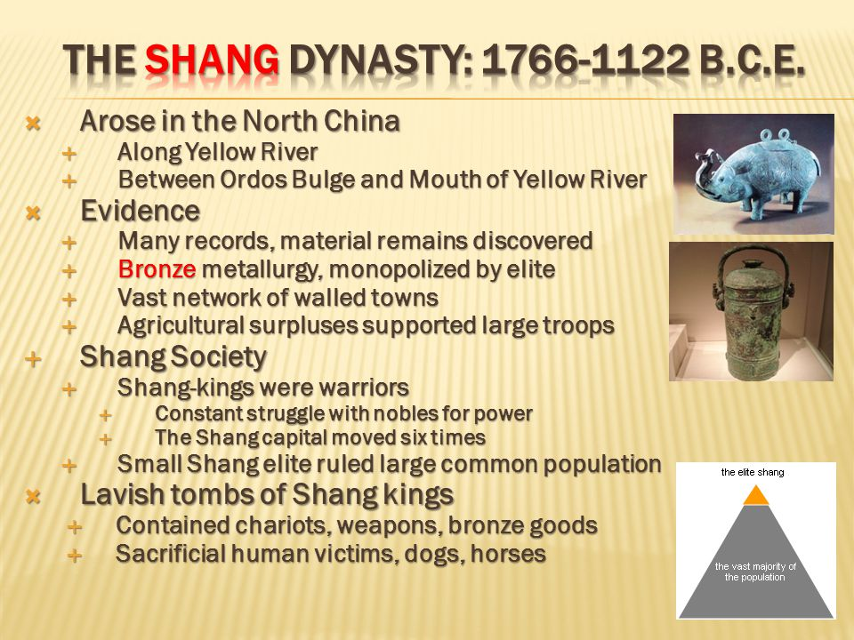  Arose in the North China  Along Yellow River  Between Ordos Bulge and Mouth of Yellow River  Evidence  Many records, material remains discovered  Bronze metallurgy, monopolized by elite  Vast network of walled towns  Agricultural surpluses supported large troops  Shang Society  Shang-kings were warriors  Constant struggle with nobles for power  The Shang capital moved six times  Small Shang elite ruled large common population  Lavish tombs of Shang kings  Contained chariots, weapons, bronze goods  Sacrificial human victims, dogs, horses