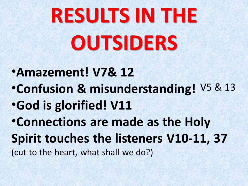 RESULTS IN THE OUTSIDERS Amazement.V7& 12 Confusion & misunderstanding.