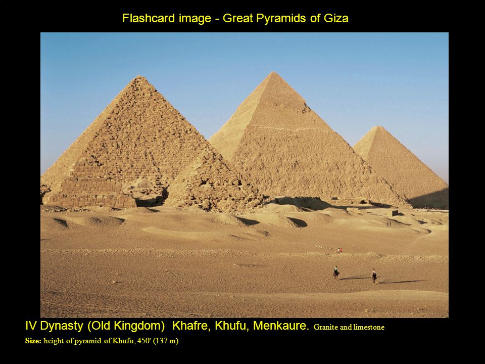 Flashcard image - Great Pyramids of Giza IV Dynasty (Old Kingdom) Khafre, Khufu, Menkaure.