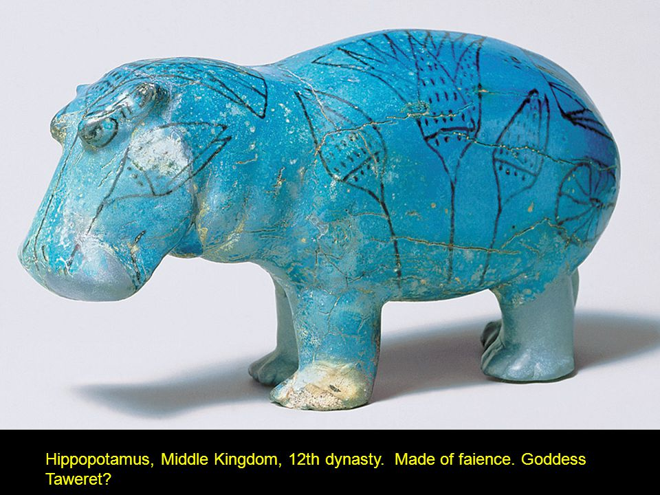 Hippopotamus, Middle Kingdom, 12th dynasty. Made of faience. Goddess Taweret