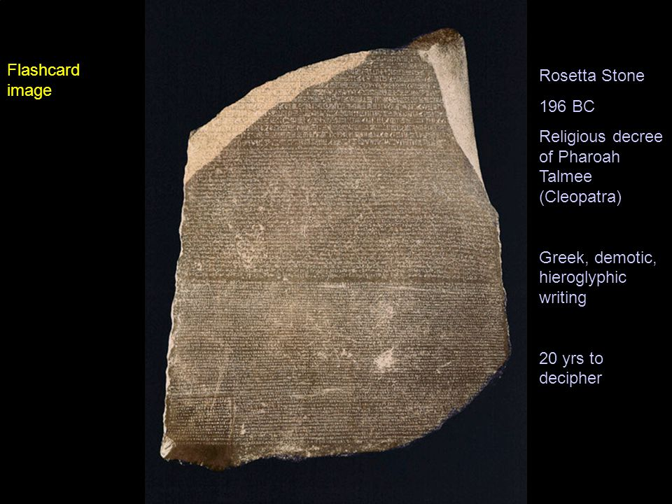 Rosetta Stone 196 BC Religious decree of Pharoah Talmee (Cleopatra) Greek, demotic, hieroglyphic writing 20 yrs to decipher Flashcard image