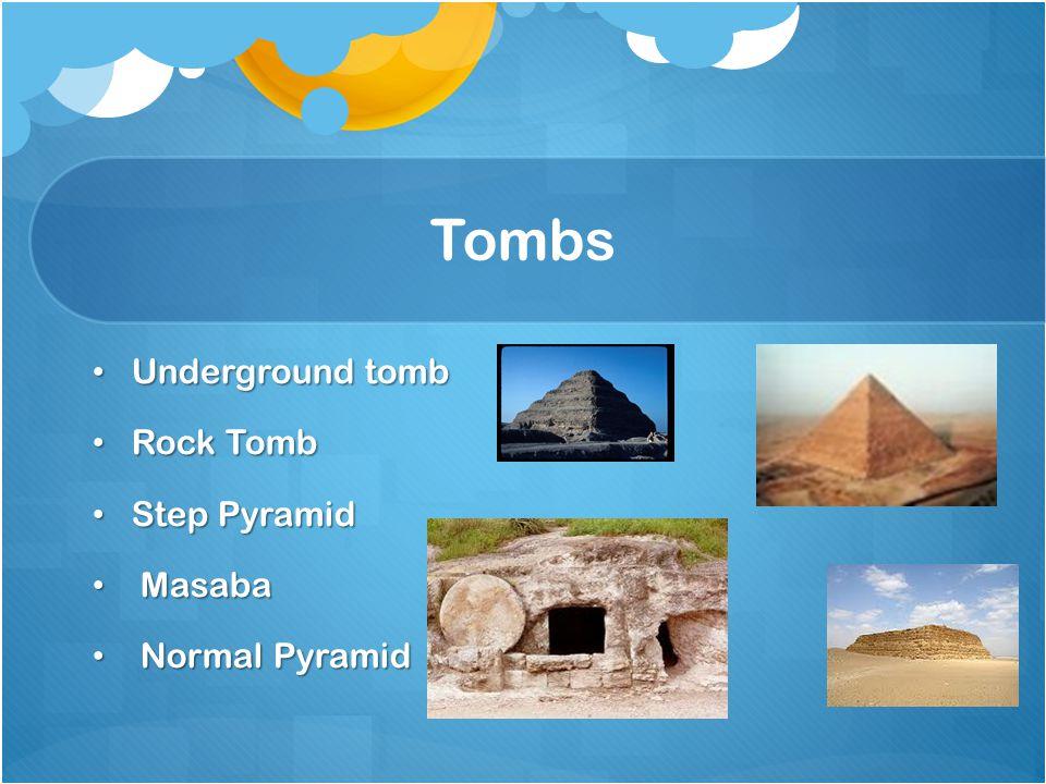 Tombs Underground tomb Underground tomb Rock Tomb Rock Tomb Step Pyramid Step Pyramid Masaba Masaba Normal Pyramid Normal Pyramid