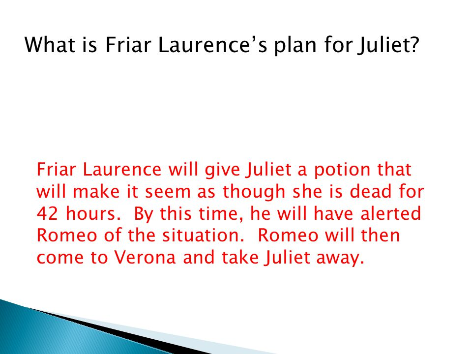 What is Friar Laurence's plan for Juliet.