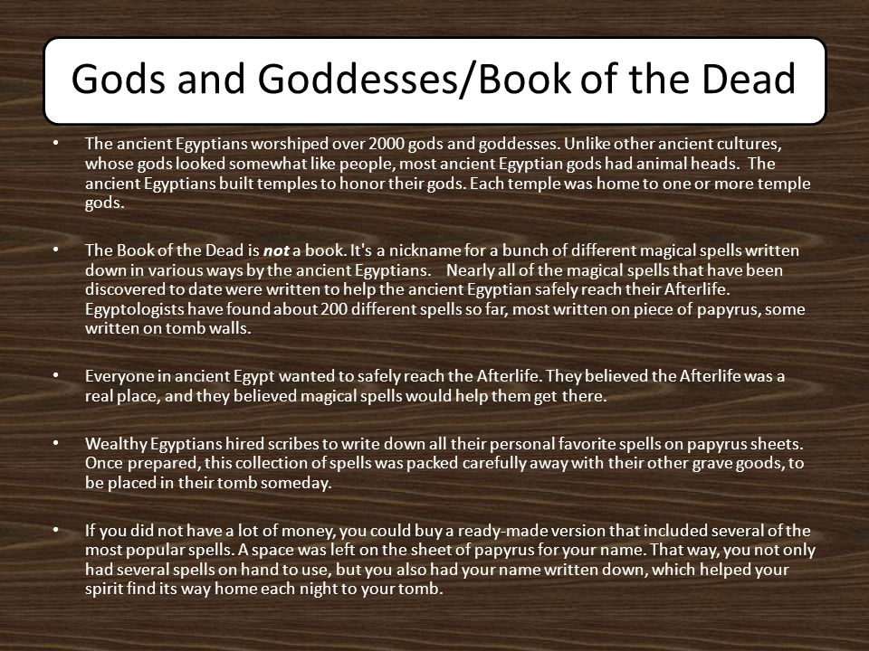 Gods and Goddesses/Book of the Dead The ancient Egyptians worshiped over 2000 gods and goddesses. Unlike other ancient cultures, whose gods looked som