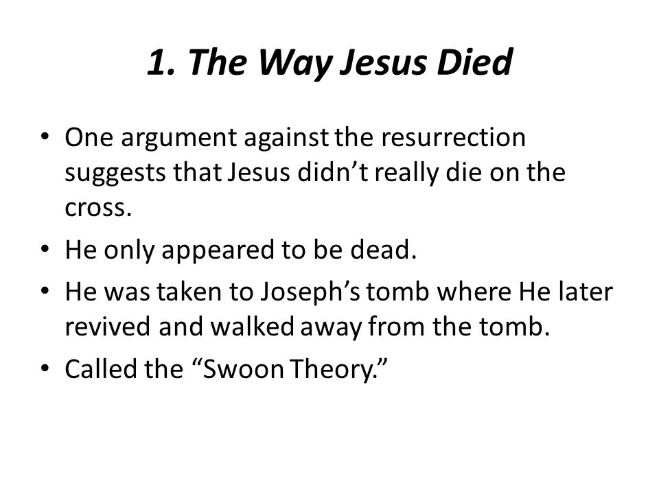 One argument against the resurrection suggests that Jesus didn't really die on the cross.