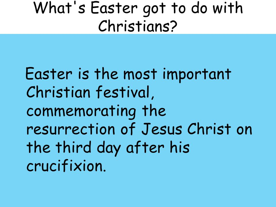 What s Easter got to do with Christians.