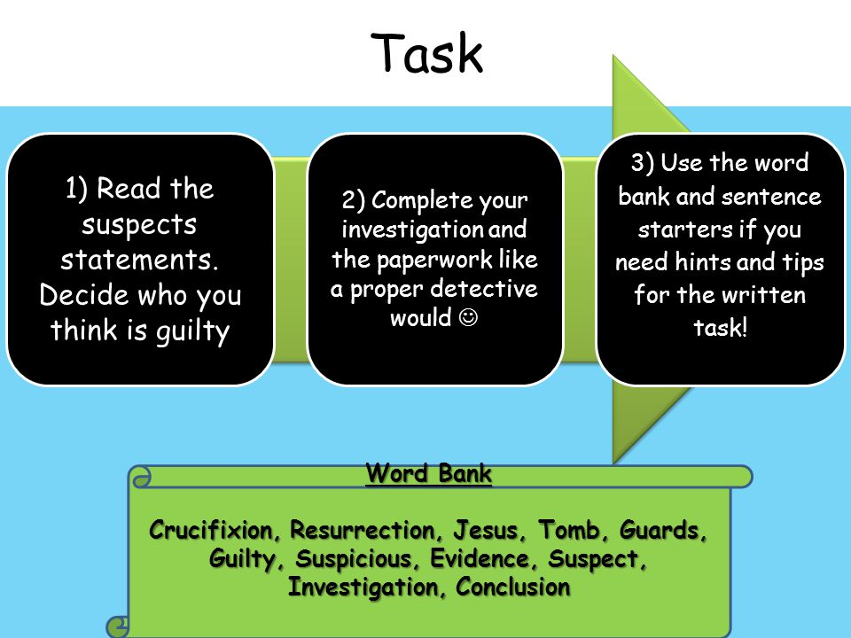 Task 1) Read the suspects statements.