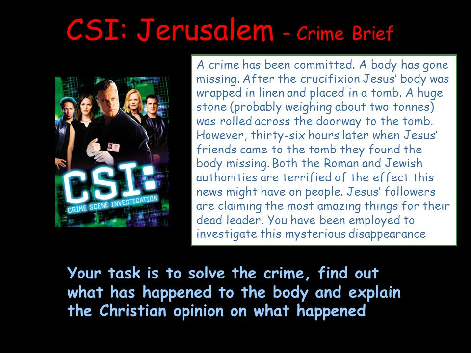 CSI: Jerusalem – Crime Brief A crime has been committed.