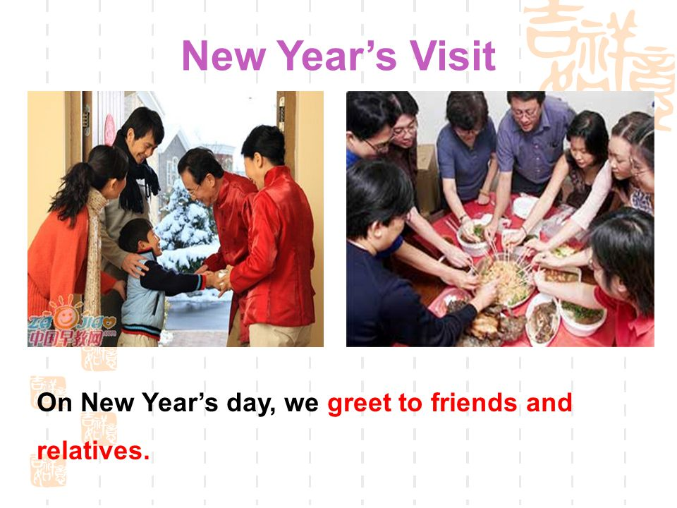On New Year's day, we greet to friends and relatives. New Year's Visit