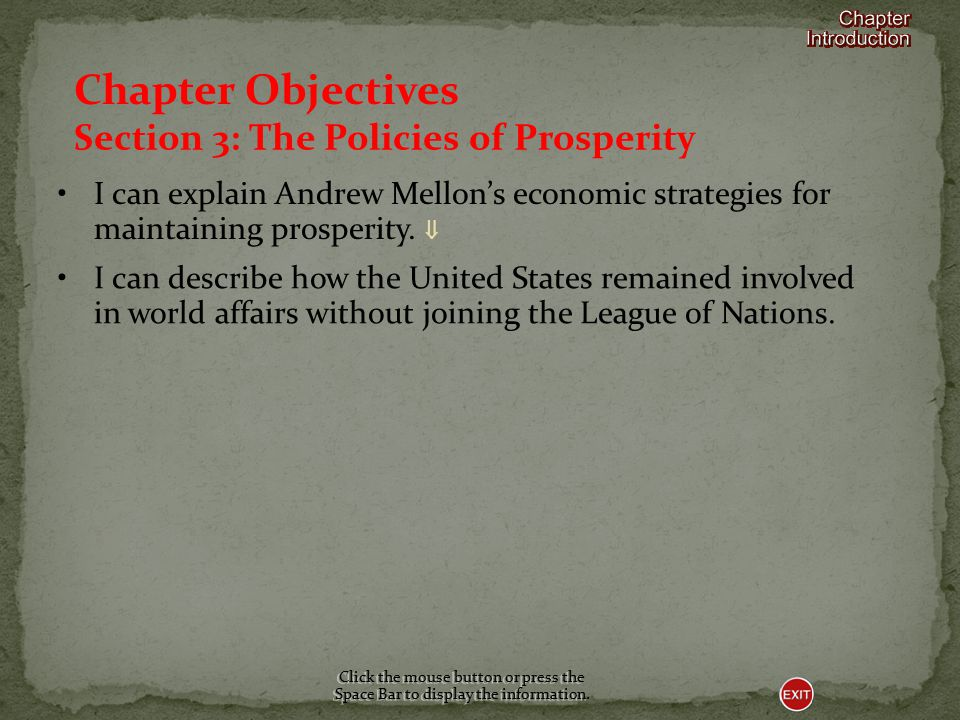 Section 3-POLICIES OF PROSPERITY