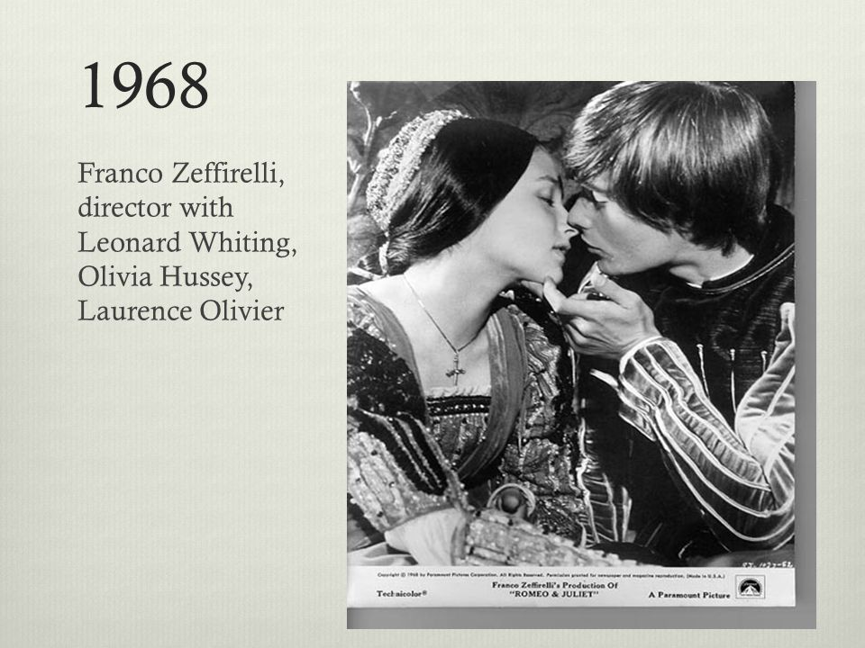 1968 Franco Zeffirelli, director with Leonard Whiting, Olivia Hussey, Laurence Olivier