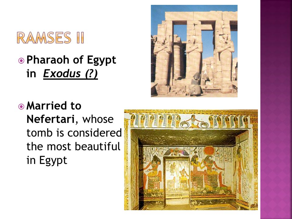  Pharaoh of Egypt in Exodus ( )  Married to Nefertari, whose tomb is considered the most beautiful in Egypt