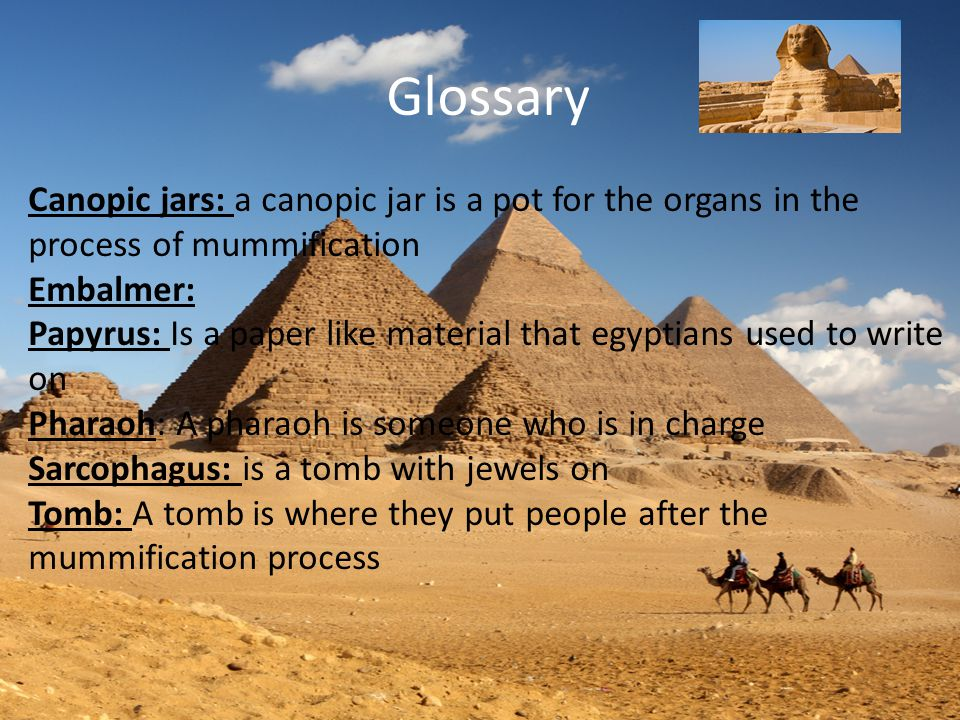Glossary Canopic jars: a canopic jar is a pot for the organs in the process of mummification Embalmer: Papyrus: Is a paper like material that egyptians used to write on Pharaoh: A pharaoh is someone who is in charge Sarcophagus: is a tomb with jewels on Tomb: A tomb is where they put people after the mummification process