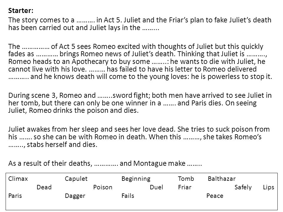Starter: The story comes to a ………. in Act 5. Juliet and the Friar's plan to fake Juliet's death has been carried out and Juliet lays in the ……... The