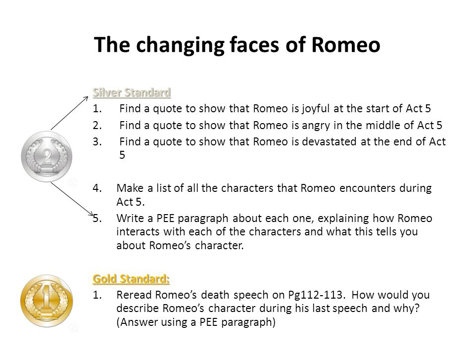The changing faces of Romeo Silver Standard 1.Find a quote to show that Romeo is joyful at the start of Act 5 2.Find a quote to show that Romeo is angry in the middle of Act 5 3.Find a quote to show that Romeo is devastated at the end of Act 5 4.Make a list of all the characters that Romeo encounters during Act 5.