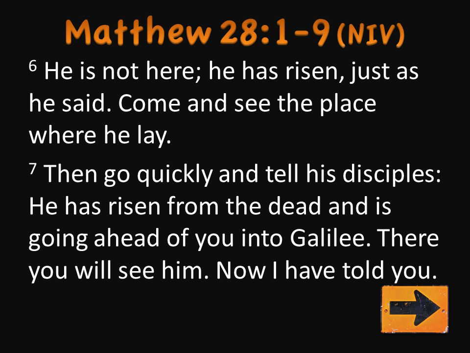 6 He is not here; he has risen, just as he said.Come and see the place where he lay.