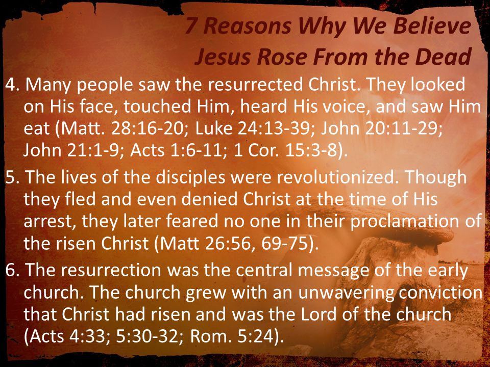 7 Reasons Why We Believe Jesus Rose From the Dead 7.