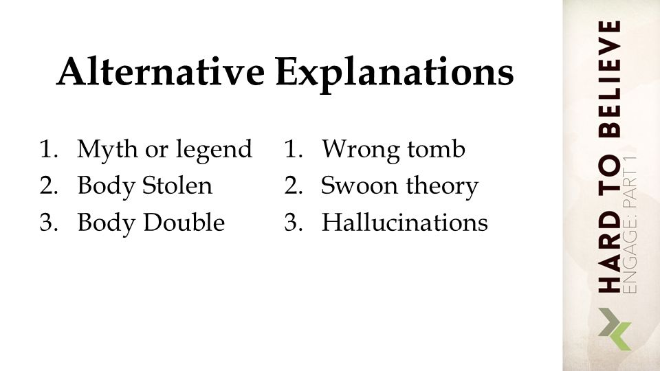 Alternative Explanations 1.Myth or legend 2.Body Stolen 3.Body Double 1.Wrong tomb 2.Swoon theory 3.Hallucinations