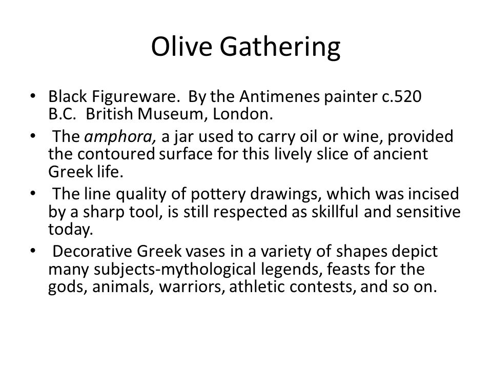 Olive Gathering Black Figureware.By the Antimenes painter c.520 B.C.