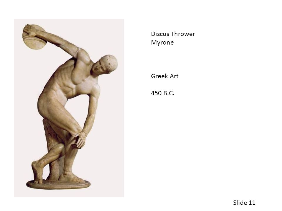 Discus Thrower Myrone Greek Art 450 B.C. Slide 11