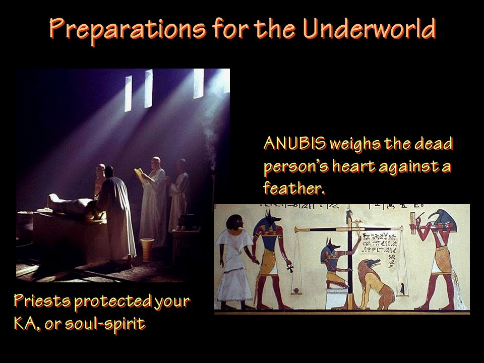 Preparations for the Underworld Priests protected your KA, or soul-spirit ANUBIS weighs the dead person's heart against a feather.