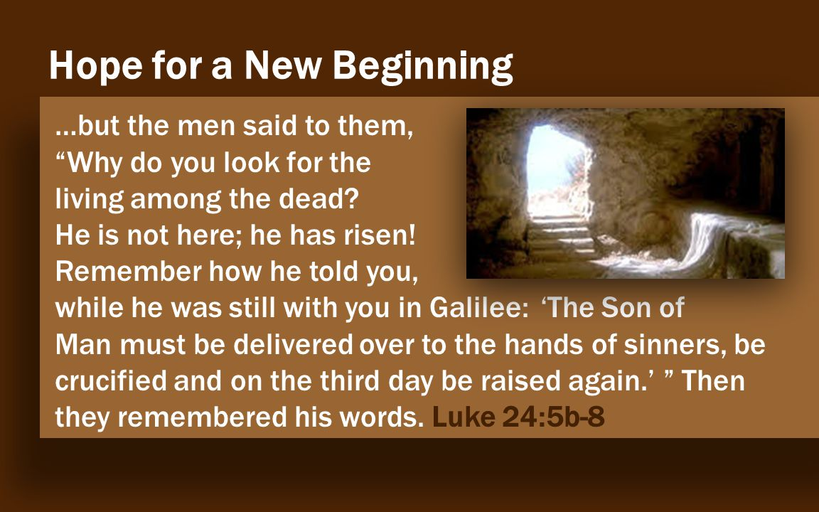 Evidence The Empty Tomb …but the men said to them, Why do you look for the living among the dead.