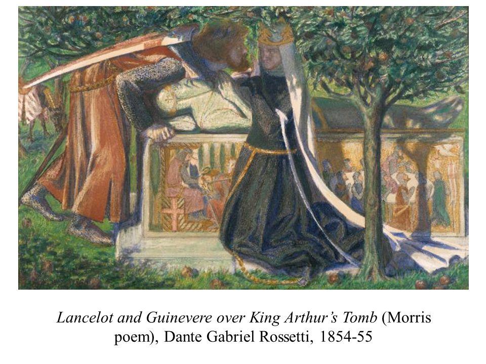 Lancelot and Guinevere over King Arthur's Tomb (Morris poem), Dante Gabriel Rossetti, 1854-55