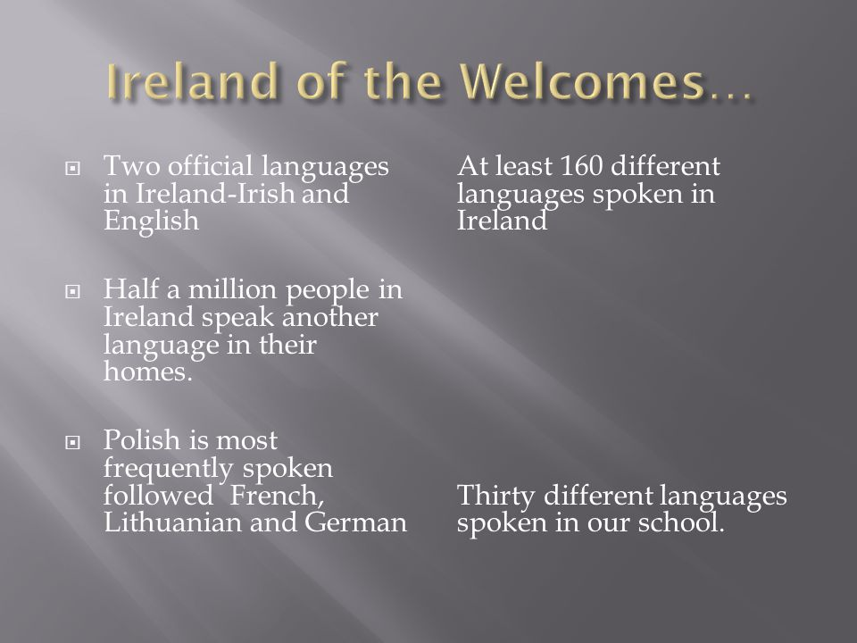  Two official languages in Ireland-Irish and English  Half a million people in Ireland speak another language in their homes.