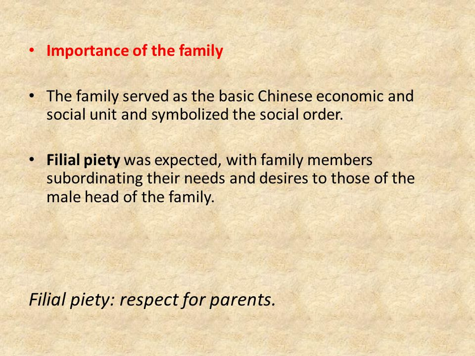 Importance of the family The family served as the basic Chinese economic and social unit and symbolized the social order.