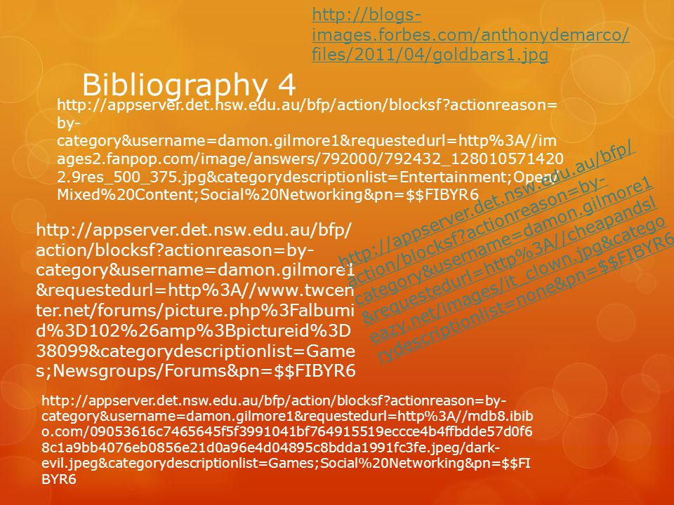 Bibliography 4 http://appserver.det.nsw.edu.au/bfp/action/blocksf?actionreason= by- category&username=damon.gilmore1&requestedurl=http%3A//im ages2.fa