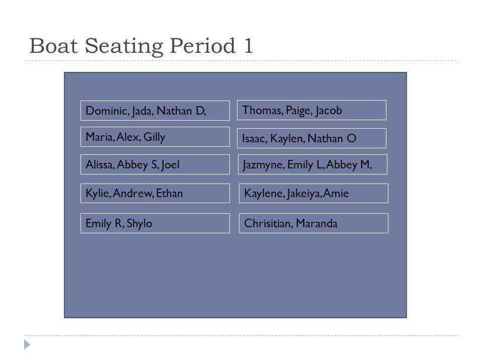 Boat Seating Period 1 Dominic, Jada, Nathan D, Maria, Alex, Gilly Isaac, Kaylen, Nathan O Alissa, Abbey S, JoelJazmyne, Emily L, Abbey M, Kylie, Andrew, EthanKaylene, Jakeiya, Amie Emily R, ShyloChrisitian, Maranda Thomas, Paige, Jacob