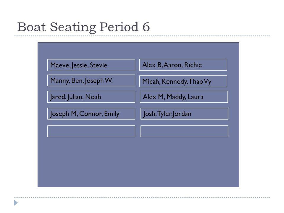 Boat Seating Period 6 Maeve, Jessie, Stevie Manny, Ben, Joseph W.