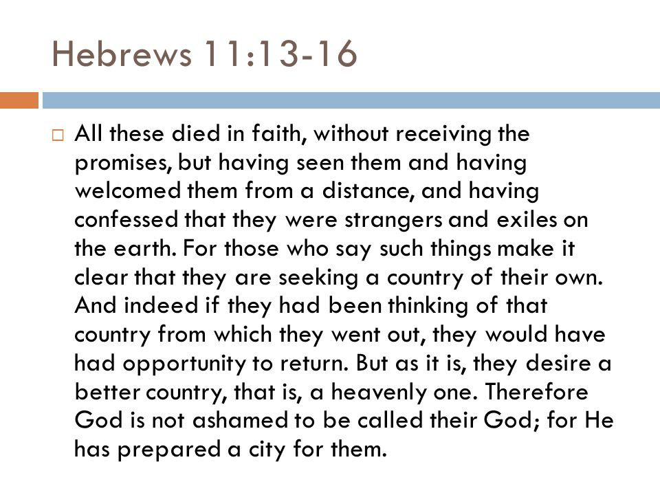 Hebrews 11:13-16  All these died in faith, without receiving the promises, but having seen them and having welcomed them from a distance, and having confessed that they were strangers and exiles on the earth.
