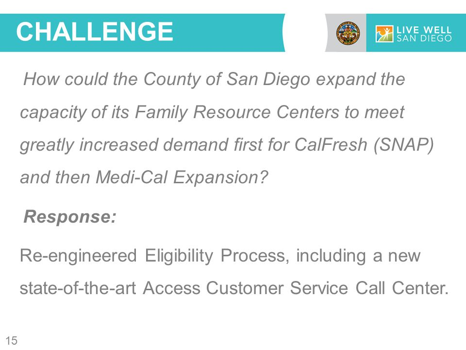 How could the County of San Diego expand the capacity of its Family Resource Centers to meet greatly increased demand first for CalFresh (SNAP) and then Medi-Cal Expansion.