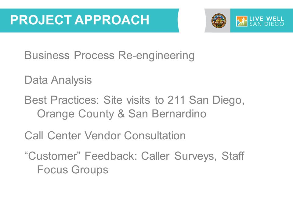 Business Process Re-engineering Data Analysis Best Practices: Site visits to 211 San Diego, Orange County & San Bernardino Call Center Vendor Consultation Customer Feedback: Caller Surveys, Staff Focus Groups PROJECT APPROACH