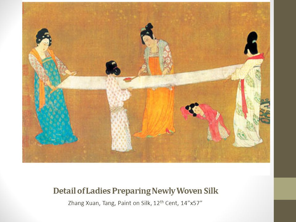 "Detail of Ladies Preparing Newly Woven Silk Zhang Xuan, Tang, Paint on Silk, 12 th Cent, 14""x57"""