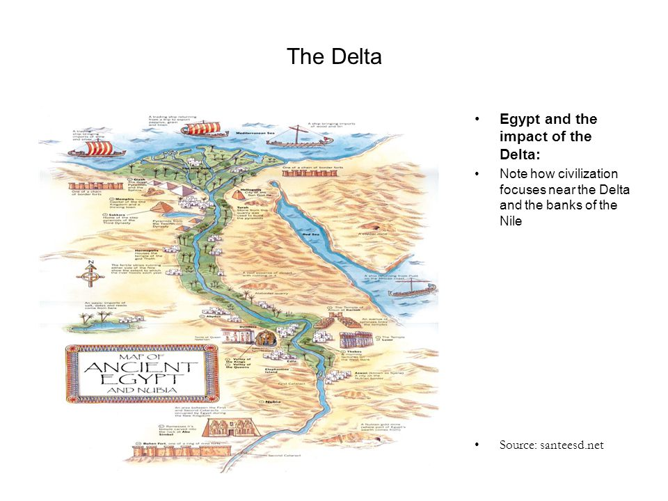 The Delta Egypt and the impact of the Delta: Note how civilization focuses near the Delta and the banks of the Nile Source: santeesd.net